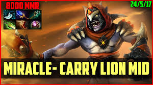 miracle 8000mmr incredible carry lion gameplay dota 2 youtube