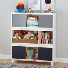 District Modern Storage Bench Bookcase with Bin (White) | The Land of Nod