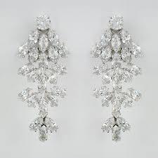 waterfall cz chandelier earrings clip on