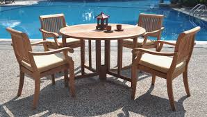 wood outdoor dining table 5 piece luxurious grade a teak set 48 round capture inch