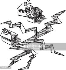 Small Picture Earthquake Crack Buildings Drawing Vector Art Getty Images