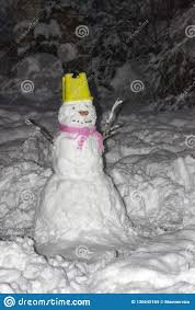Winter Time Snowmen With Colorful Details Stock Image