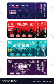 ticket sample template set of concert ticket templates concert party or