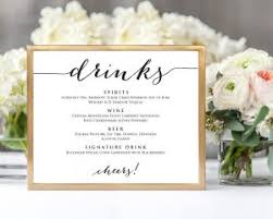 wedding drink menu. drink menu sign Wedding Templates and Printables