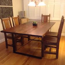 Our Rustic Dining Table Steel Belt Legs With Redwood Seamless Table