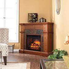 w corner faux stone infrared electric fireplace in oak