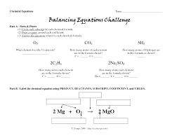 balancing equations practice worksheet chemical chemistry free problems word problem answers