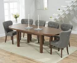 agata solid dark oak oval extending dining set with 4 vicenza grey chairs
