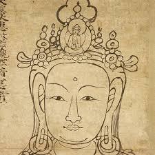 Sketch of the bodhisattva Avalokiteśvara with buddha Amitābha in ...