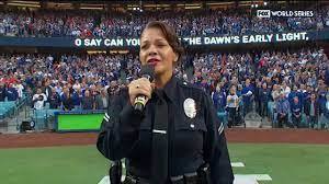 LAPD Headquarters - Officer Rosalind Curry sings National Anthem before  Game 6 of ... | Facebook