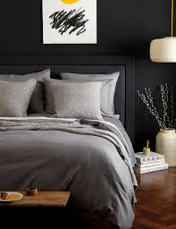 dark grey cotton bedding set secret linen relaxed denim graphite main gray bed