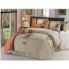microfiber beige black embroidered bamboo comforter bed in a bag set king