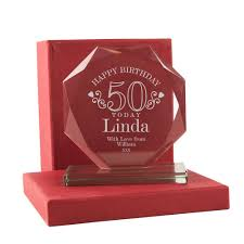 engraved 50th birthday gl award for her 50 glware gift ideas intended for 50th wedding anniversary