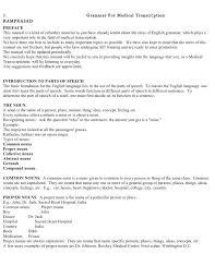 Medical Transcription Resume Grammar For Medic Transcription Preface Magnificent Resume Preface