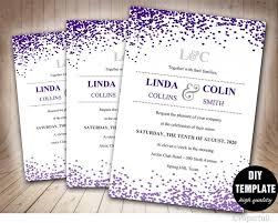 Wedding Invitations Templates Purple Creative Wedding Invitation Template Confetti Wedding Invitation