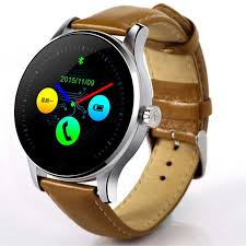 eastor k88h round screen leather strap ip54 smart watch brown