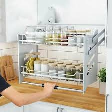 wall cabinet pull down dish rack 2 tier