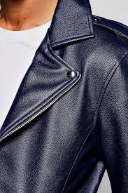asymmetric faux leather navy biker jacket navy code mzz72517 xcpmzbl