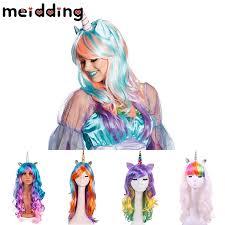 <b>MEIDDING</b> 1pcs Rainbow <b>Unicorn</b> Wig Halloween <b>Decor</b> ...