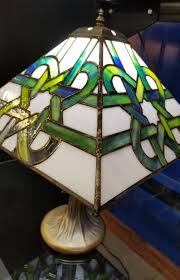 Stained Glass Celtic Style Lamp Shade And Base