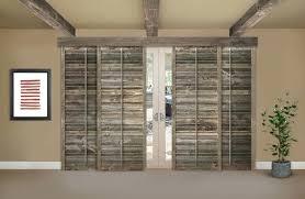 reclaimed wood phoenix shutters on a sliding glass door in mantels barn reclaimed wood