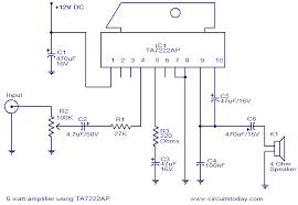 12v car subwoofer amplifier circuit diagram 12v 6w amplifier using ta7222ap circuit diagram world on 12v car subwoofer amplifier circuit diagram
