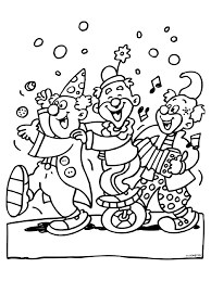 Kleurplaat 3 Feestende Clowns Carnaval Kleurplatennl
