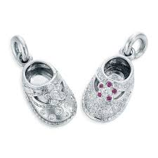 image of flora platinum and diamond baby shoe charm pendants