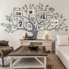 modern living room family tree wall