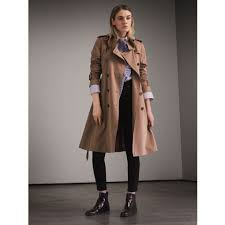 burberry tropical gabardine trench coat with ruffle detail 40497181 taupe
