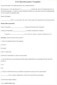 Template For Questionnaire Research Survey Template Sample Questionnaire Market For