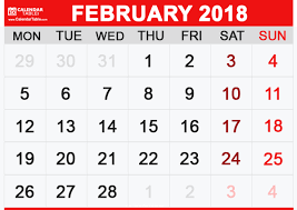 Image result for images of february 2018 calendar