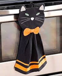 kitchen sets towel pot holder witch pumpkin black cat