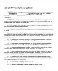 music management contract talent management contract template music artist contract template