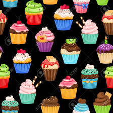 Sweet Cupcakes Colorful Pattern On Black Background Vector