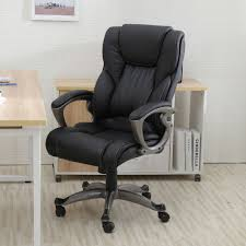 heavy duty leather office rolling computer chair black high back executive desk bigs officechair
