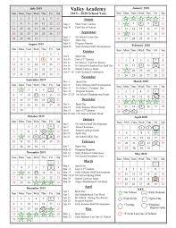 School Year Calendar 2019 2020 Valley Academy