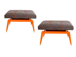 New York Design Center Pair Of Hermes Orange Formation Benches Furniture  Benches