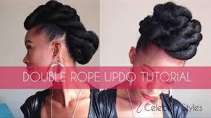 Black Braided Bun Hairstyles Hair Tutorial Easy Double Rope Updo With Kankekalon Jumbo Braid