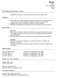 Resume Examples, Your Occupational Title Summary Experience Work History  Template For A Functional Resume Education