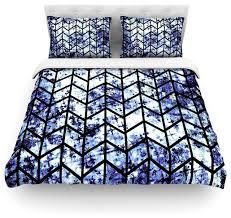 ebi emporium chevron wonderland ii blue black duvet cover cotton queen contemporary