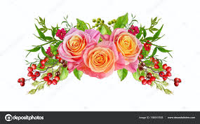 flower arrangement wreath bouquet delicate pink and yellow roses red berries bright green leaves ornamental plants isolated on white background