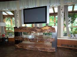 custom tv stands. Custom Designed Natural Log TV Stand Built Using Three Slices Of An Oak Tree And Two 14\ Tv Stands