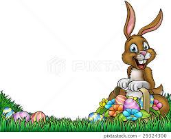 Easter Egg Hunt Bunny Background Stock Illustration