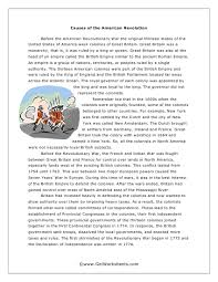 causes of the american revolution worksheet worksheets  causes of the american revolution essay