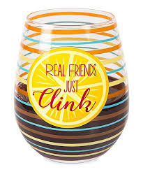 love this orange blue stripe real friends just clink stemless wine glass
