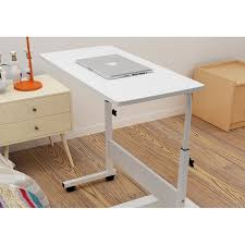 osuki mobile height adjule table 60 x 40cm with wheels laptop desk white