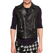 asymmetric zipper mens motorcycle leather vest