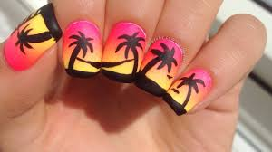 easy neon grant and palm tree nail art