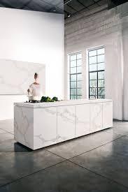 White Stone Kitchen Backsplash Island Bench Top Featuring Caesarstone Calacatta Nuvo